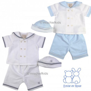 Emile et Rose 5272 AMOS Linen Sailor Suit. Shirt, Shorts and Hat Set. WHITE/NAVY or WHITE/BLUE