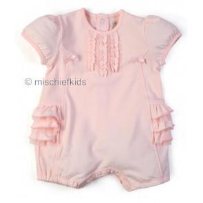 Emile et Rose E7194 ALICIA Pink Jersey Cotton Ruffle Romper
