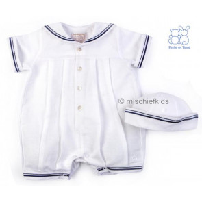 Emile et Rose E7197 ALFIE Linen and Cotton Sailor Romper and Hat Set WHITE/NAVY