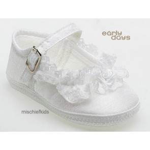 Early Days E009 Lace Pram Shoe IVORY or WHITE