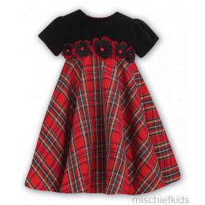 Sarah Louise 9177 Red Taffeta Tartan Swingy Dress