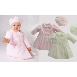 Emile et Rose 9223 DASKA and 9201 BIANCA and 9241 Farrah Padded Double Breasted Coat and Beret IVORY or PINK