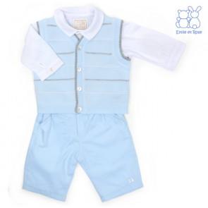 Emile et Rose E9477 BLYTHE Pale Blue Fine Knit Waistcoat, Trouser and Shirt Set