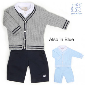 Emile et Rose E9480 BRENT Boys Navy and Grey Cardigan, Trouser and Shirt Set