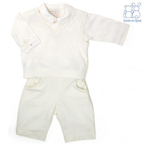Emile et Rose E9481 BRYN Ivory Cotton Diamond Knit Tank Top, Shirt and Trouser Set