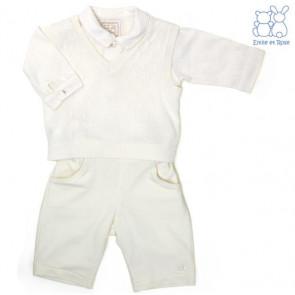 Emile et Rose E9481 BRYN Ivory Cotton Diamond Knit Tank Top, Shirt and Trouser Set