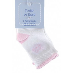 Emile et Rose 4621 ANYA Girls White Pink Socks 2 PAIR PACK
