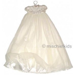 Little Darlings G9014 Sofia Satin and Tulle Christening Gown IVORY or WHITE