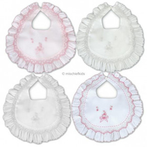 Sarah Louise 003316 Embroidered Frilly Bib WHITE/PINK
