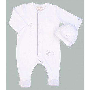 Emile et Rose 1546 COOPER White Romper Onesie and Hat Set WHITE