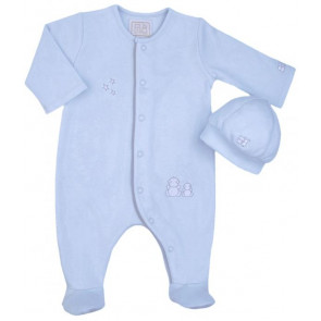 Emile et Rose 1546 COOPER Blue Romper Onesie and Hat Set BLUE