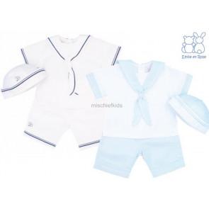 Emile et Rose 5284 CARLTON White/Blue Sailor Suit and Hat