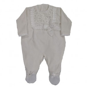 Little Darlings LD2405 Frills and Lace Cream Romper Onesie