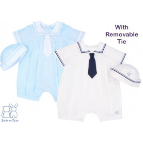 Emile et Rose 7207 CORBY Sailor Style Romper and Hat in WHITE and NAVY or BLUE and WHITE
