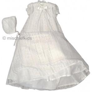 Sarah Louise 001095 White Vintage Style Christening Robe & Bonnet WHITE