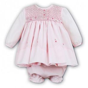 Sarah Louise 0109457 Smocked Dress & Panties Set PINK