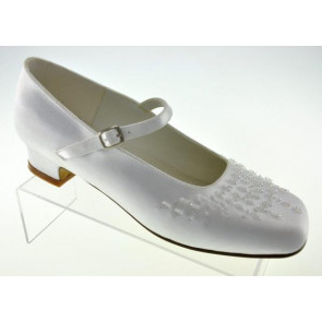 Little People 4942 White Satin Kitten Heel Shoe