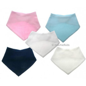 ANGELS Double layer Jersey Cotton Bandanna Dribble Bib. White, Pink, Blue, Navy or Ivory