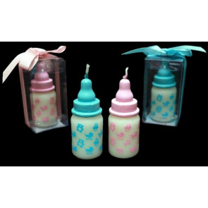 GIFT Baby Bottle Candle Boxed Gift in Pink or Blue