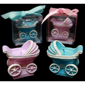 GIFT Baby Pram Candle Boxed Gift in Pink or Blue