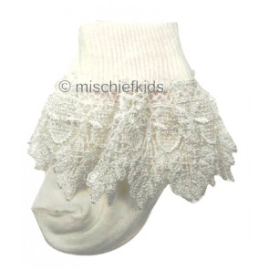 ANGELS 1002 turnover top deep lace socks in IVORY CREAM