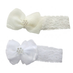 NEWBORN 975 Baby Lace Headband with jewelled bow