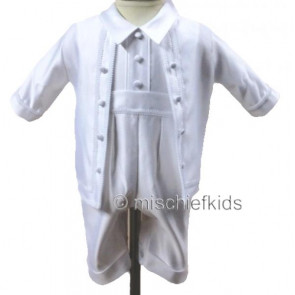 OCCASIONS DAVID White Satin Christening Romper and Jacket Set