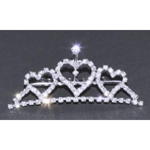 OCCASIONS A2092X Silver Diamante Triple Heart Princess Tiara
