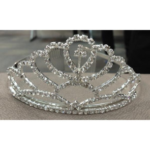 OCCASIONS A10518X Silver Diamante Sparkle Love Heart Tiara with Cross