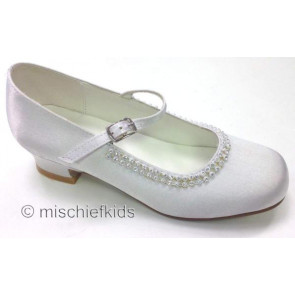Little People 4963 White Satin Sparkle Kitten Heel Shoe