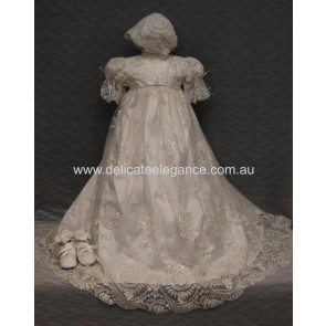 Delicate Elegance LYDIA Ivory Silk Ornate Lace Gown and Bonnet