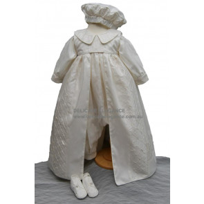 Delicate Elegance AARON Ivory Silk Boys Romper plus Gown and Hat Set