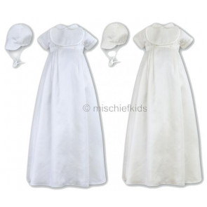 Sarah Louise 001088 Boys Christening Robe & Bib & Cap IVORY or WHITE with EMBROIDERED CROSS