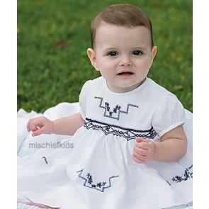 Sarah Louise 0109687 Baby Smocked Dress WHITE/NAVY