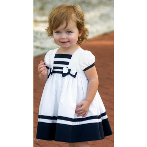 Sarah Louise 0109833 Sailor Dress WHITE/NAVY