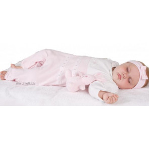 Emile et Rose 1574 DALLAS Pink Lace Trim Onesie Romper Headband
