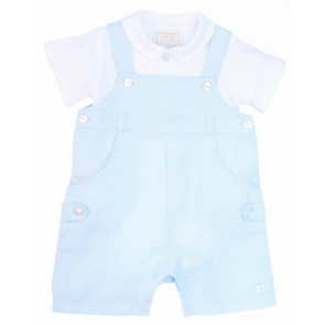 Emile et Rose 2238 COSTA Blue Linen Dungaree and Shirt