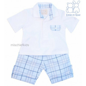 Emile et Rose 5285 COLLIER Linen Check Shorts and Jersey Shirt