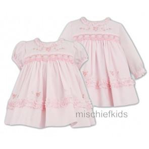 Sarah Louise 9981 Pink Long Sleeve Smocked Dress