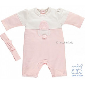 Emile et Rose 1620 FRANCES Pink Onesie Romper and Headband