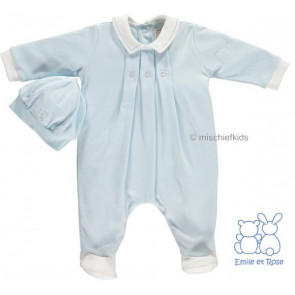 Emile et Rose 1623 FOX Blue Pleat Front Onesie Romper and Hat