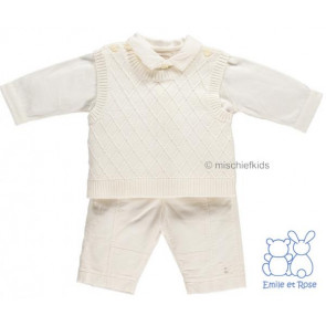 Emile et Rose 9497 FLYNN Ivory Diamond Knit and Cord 3 Piece