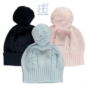 Emile et Rose 4658 FUZZY Cable Knit Bobble Hat