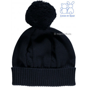 Emile et Rose 4658 FUZZY Cable Knit Bobble Hat NAVY