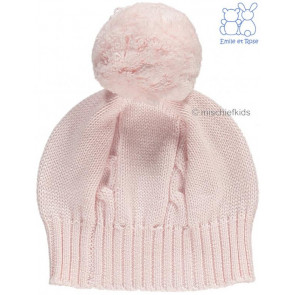 Emile et Rose 4658 FUZZY Cable Knit Bobble Hat PINK