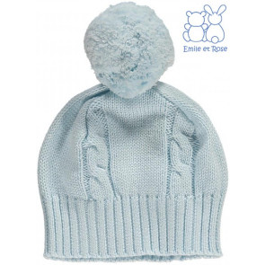 Emile et Rose 4658 FUZZY Cable Knit Bobble Hat BLUE