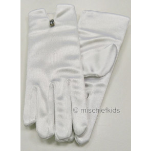 Little People 881 White Single Jewel Satin Stretch Gloves