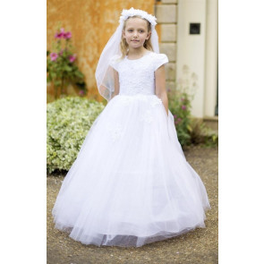 Cerimonia Carla Communion Dress with removable double hoops