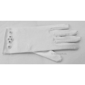 Little People 758 White and Diamante Satin Stretch Gloves
