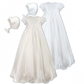 Sarah Louise 001050 Organza Petals Christening Gown IVORY or WHITE